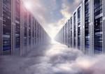 Digital illustration of endless server room