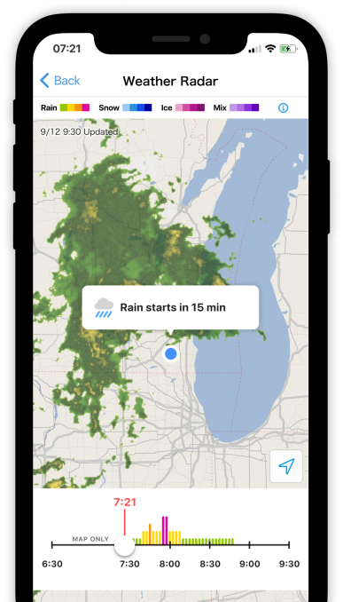 SmartNews' Weather Radar feature