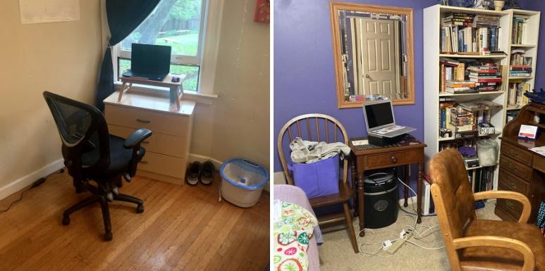 Oficinas en casa mínimas para dos maestros.
