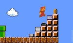 Pixel art of mario jumping on gaming consoles to get a coin.