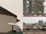 A Starlink antenna in an area devastated by wildfires.