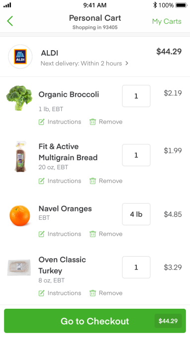 Instacart, in partnership with ALDI, will support SNAP EBT for online groceries