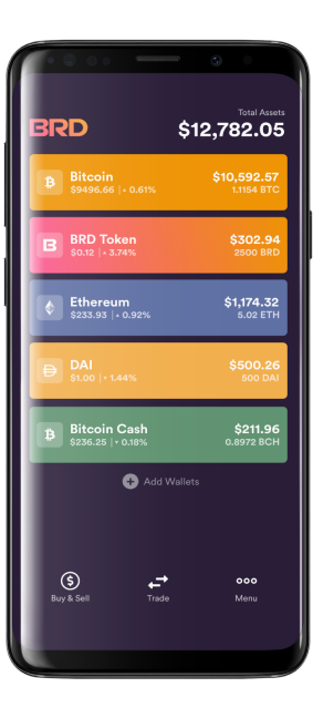 An image of mobile cryptocurrency wallet BRD's user interface