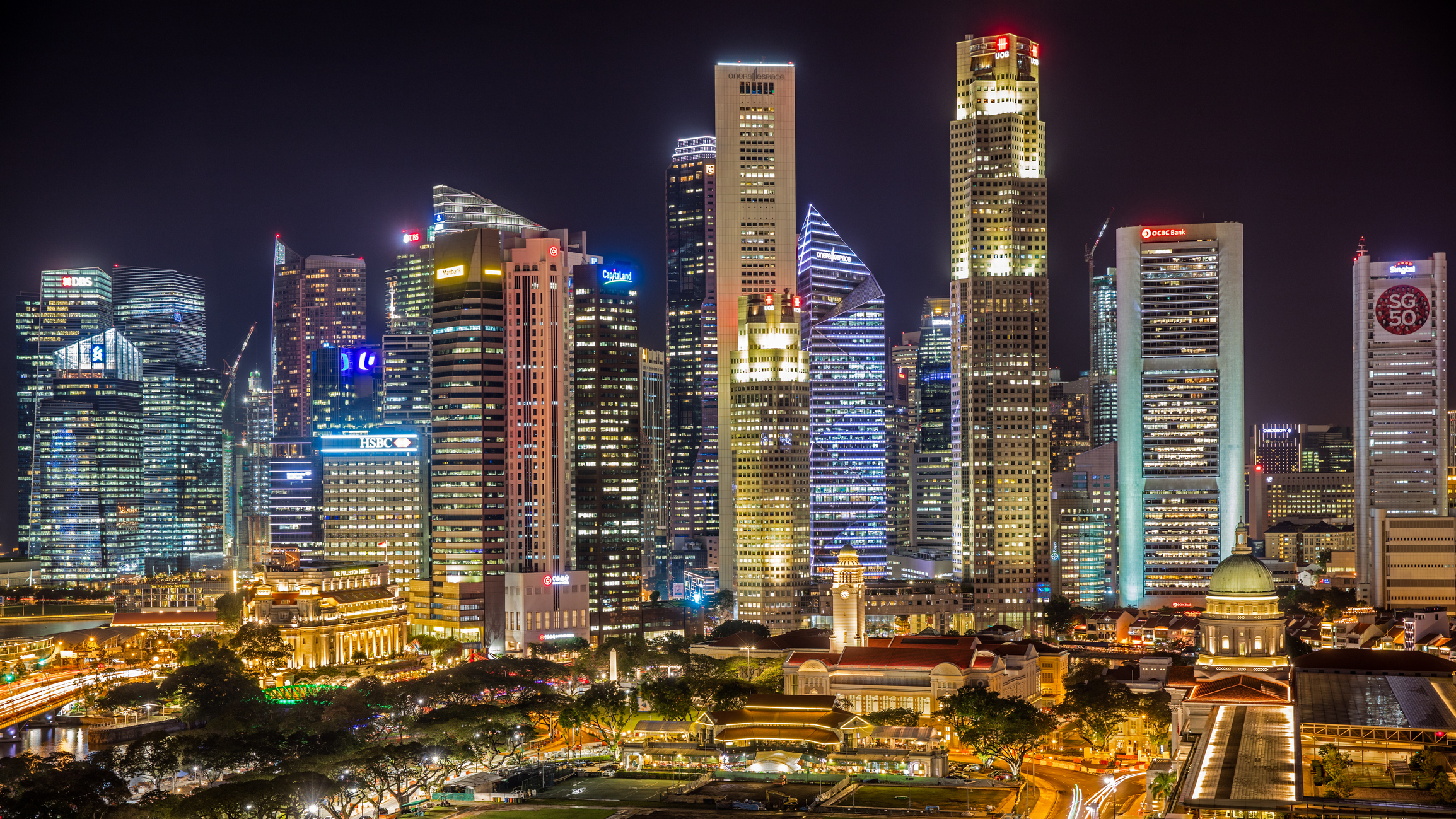 Singapore Skyline Business District Panorama at Night