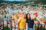 Couple visiting Guanajuato from lookout on the mountain. Mexico