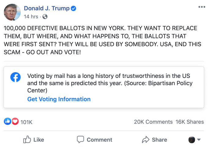 Facebook won't accept ads that 'delegitimize' U.S. election results