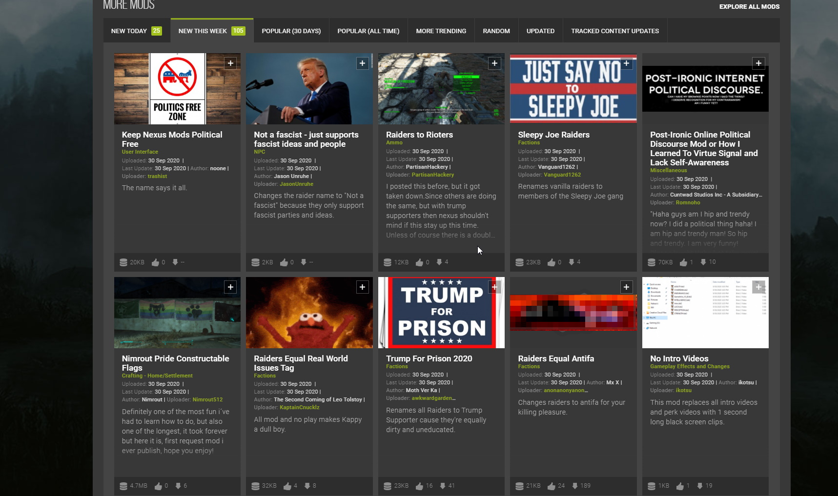 A PC gaming site had to ban political troll mods for games, because nowhere is safe
