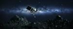 Illustration of OSIRIS-REx spacecraft touching down on an asteroid