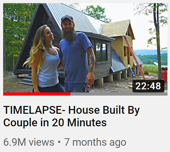 thumbnail from youtube video with housebuilding couple