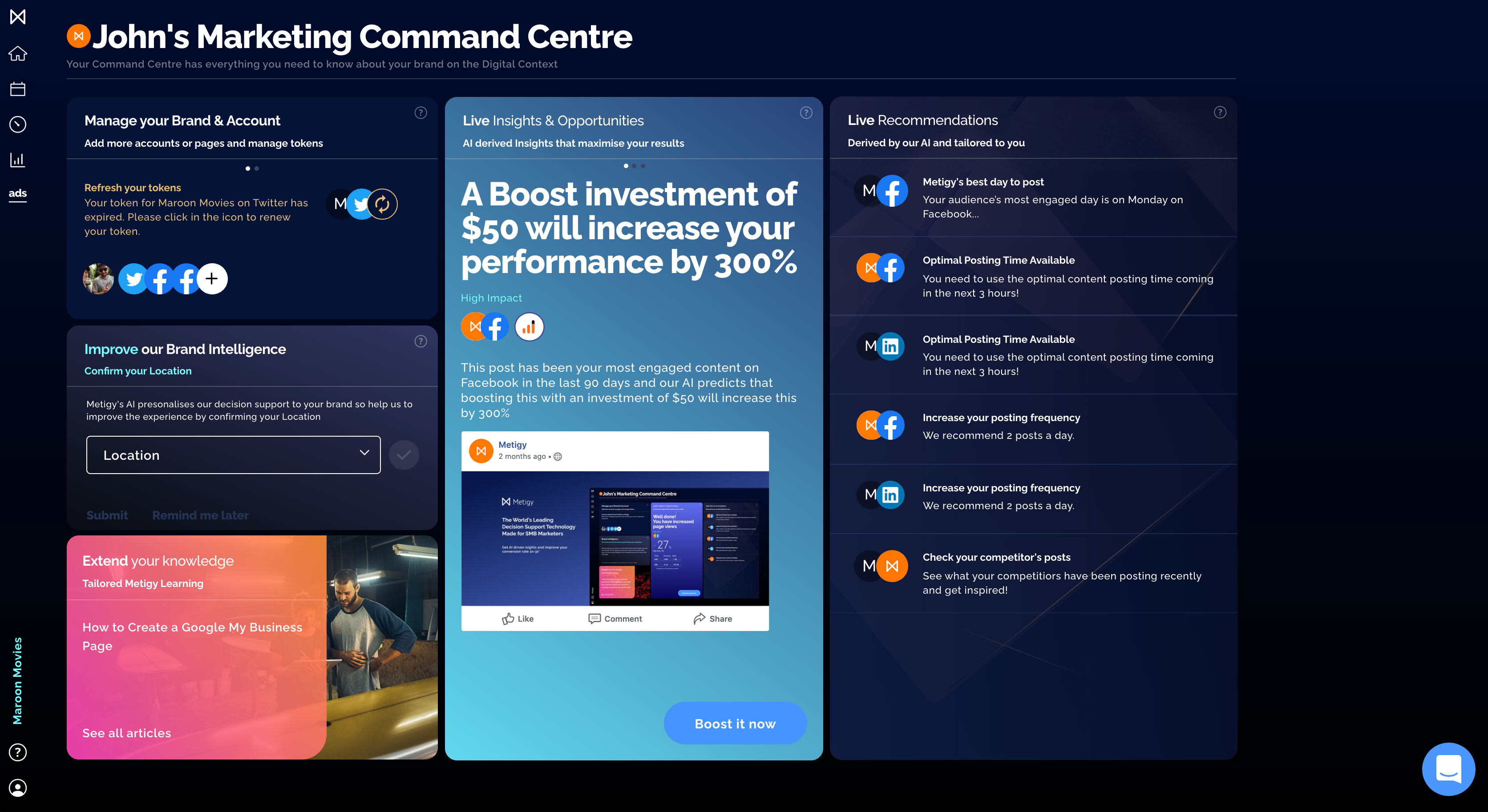 Marketing platform Metigy's Command Center