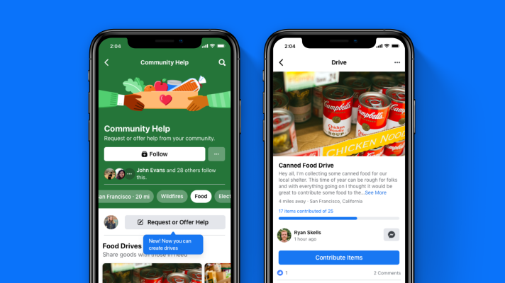 Facebook launches 'Drives,' a U.S.-only feature for collecting food, clothing and other necessities for people in need - techcrunch