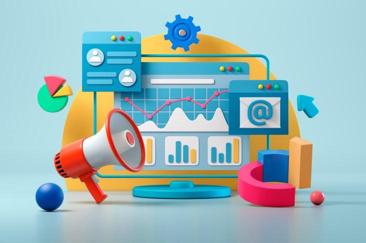 数字营销,社交媒体和网络,在线业务和购买,财务分析和统计,通讯。 3d插图