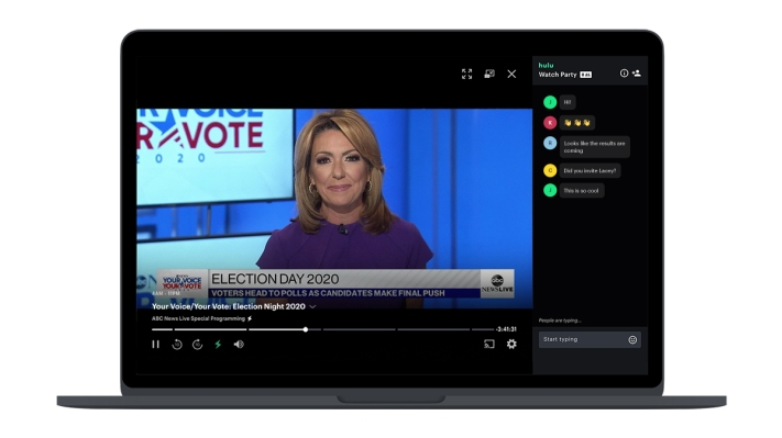 Hulu tests its social viewing feature, Watch Party, with election news livestreams