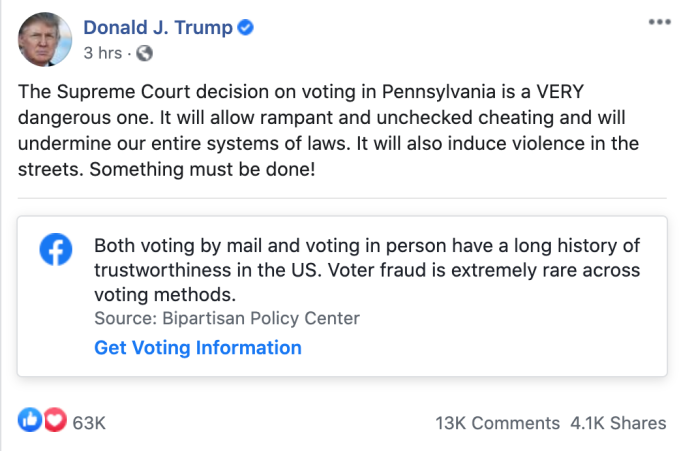 Twitter hides Trump tweet attacking Supreme Court's decision on Pennsylvania ballots – TechCrunch