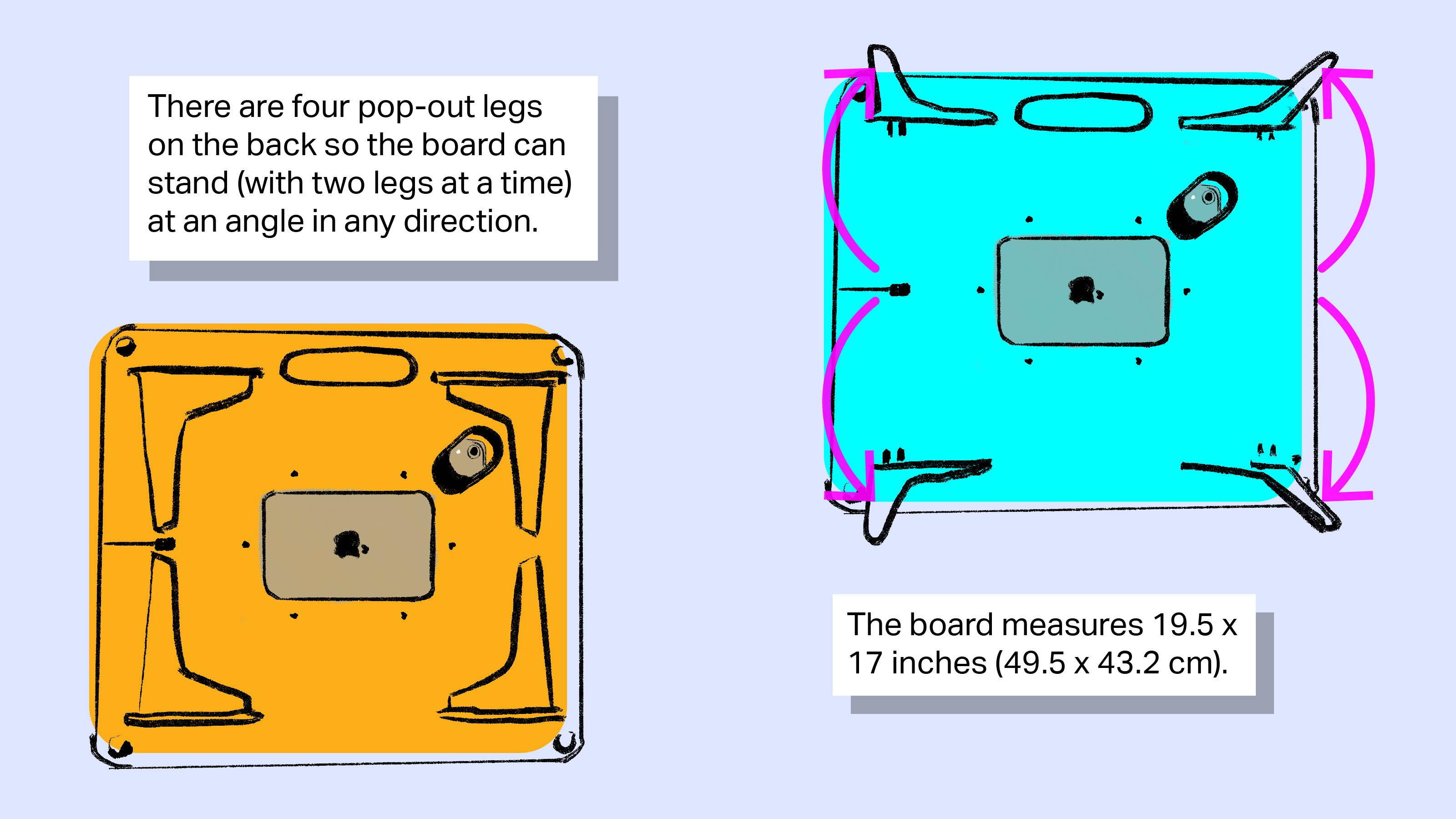 [text] There are four pop-out legs on the back so the board can stand (with two legs at a time) at an angle in any direction. The board measures 19.5 x 17 inches (49.5 x 43.2 cm). [image: two back views of the Sketchboard Pro, one with legs collapsed and one with legs out.]