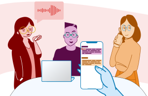Illustration of a group talking and a phone transcribing the audio.
