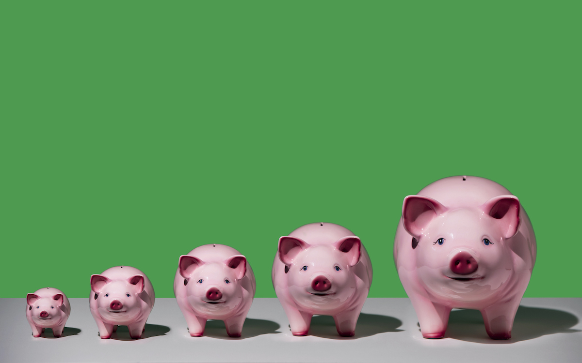 Line of different sized pink ceramic piggy banks in ascending order on white surface, green background