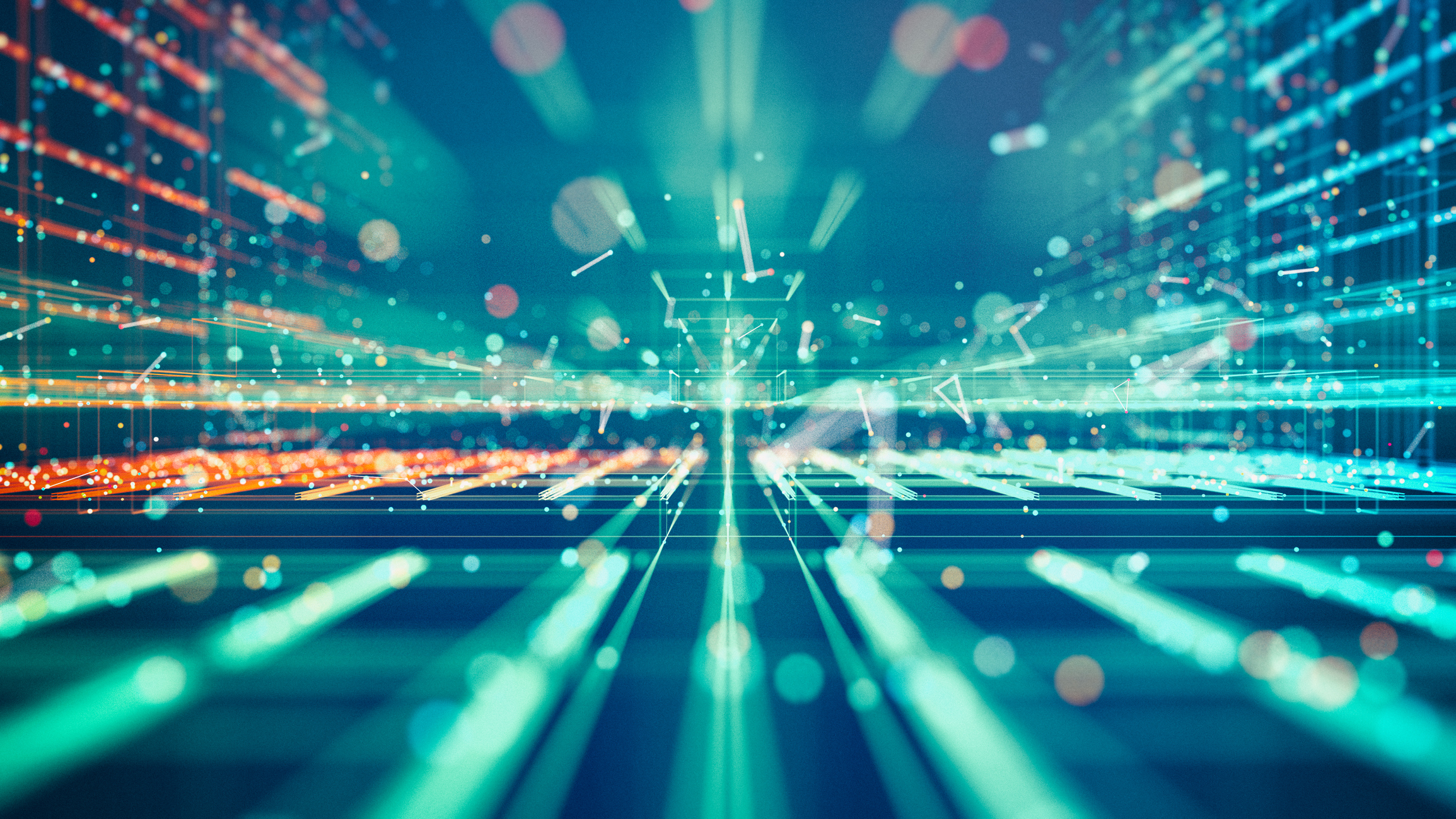 Абстрактная светящаяся сетка и частицы