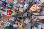Aerial view of buildings in Singapore's business district