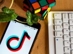 In this photo illustration a TikTok logo displayed on a smartphone next to a rubik's cube, a computer keyboard and a leaf.