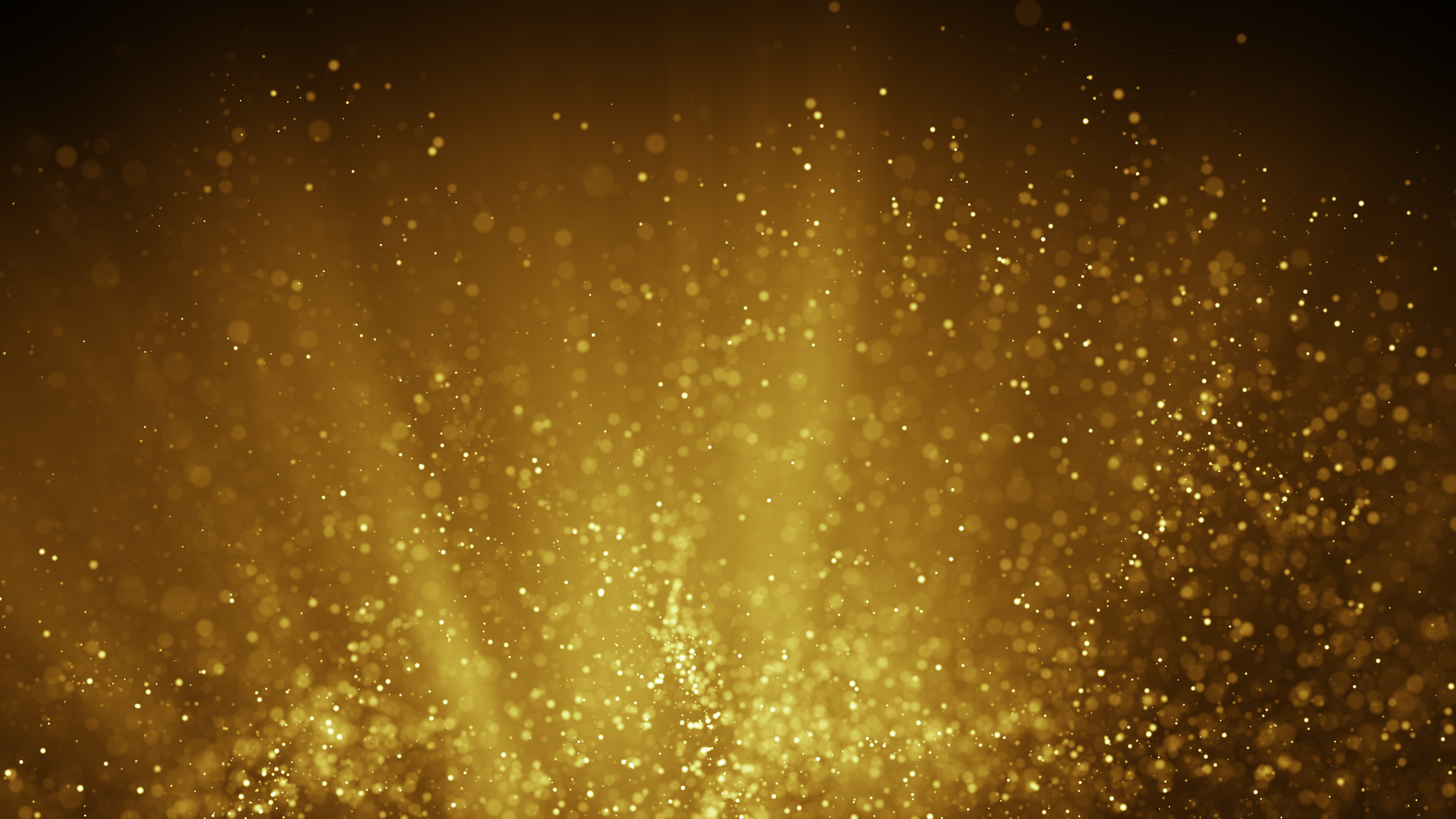 Fairy dust flying in gold light rays. Computer generated abstract raster illustration
