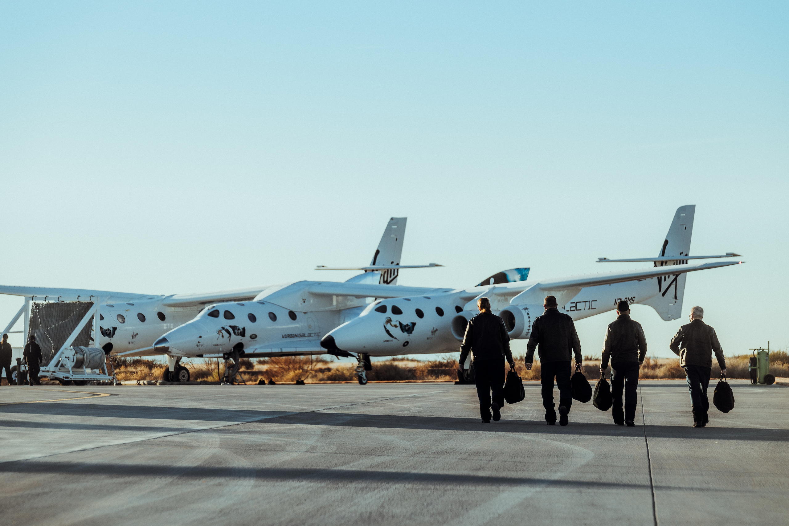 Virgin Galactic Pilots on their way to the Virgin Galactic Spaceflight System Virgin Galactic and Richard Branson celebrate launch of first passengers into space – TechCrunch