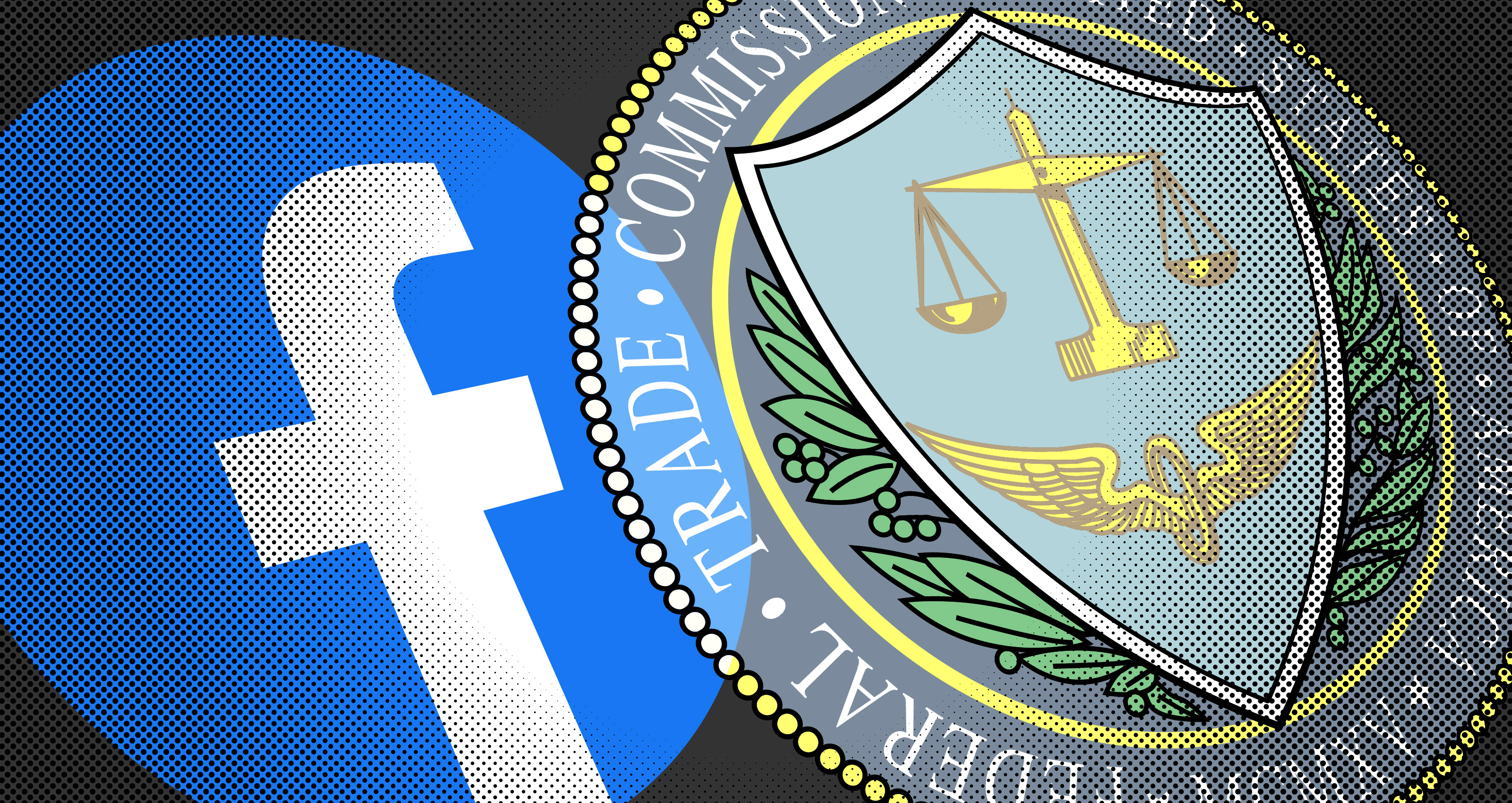 Logo Facebook dan segel FTC