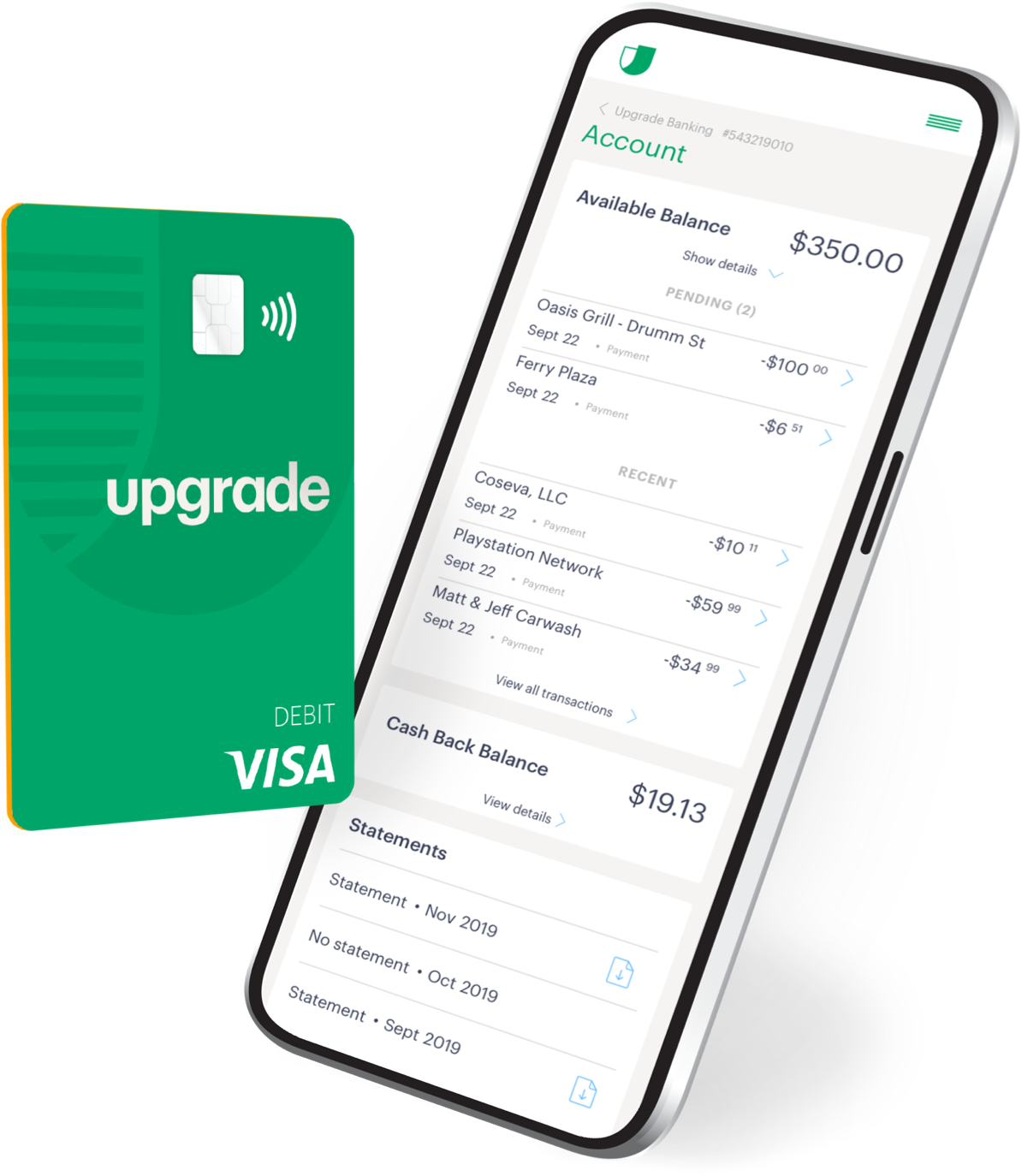Upgrade launches checking accounts and debit cards