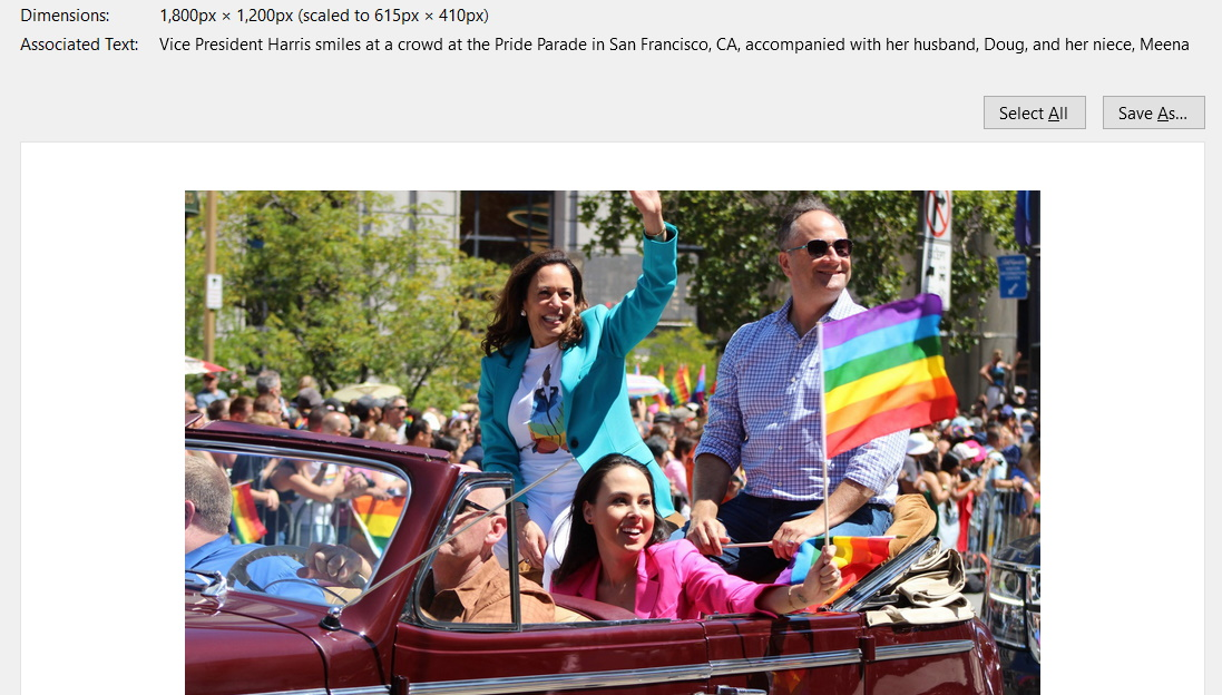 Screenshot showing the alt text of a photo of VP Kamala Harris and her family