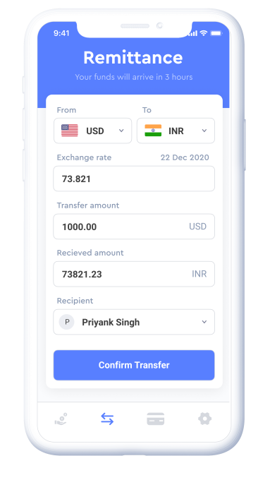 Stilt's money transfer feature