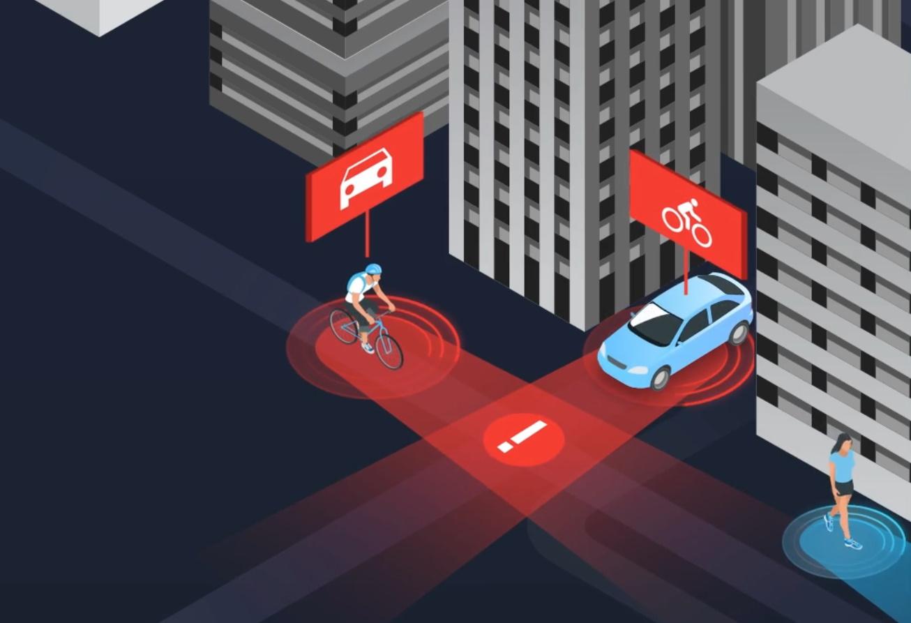 Ilustración CG de un ciclista y un automóvil advertidos de una colisión inminente.