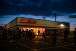 The AutoZone store set on fire, during the Minneapolis protests, which police say was the catalyst for violence.