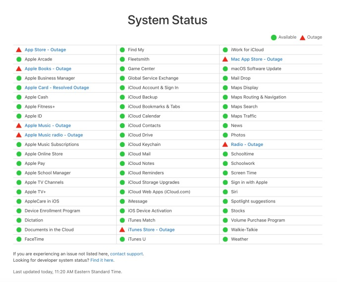 Apple Music, Books, iTunes, App Store and more are experiencing outages – TechCrunch Screen Shot 2021 02 03 at 11