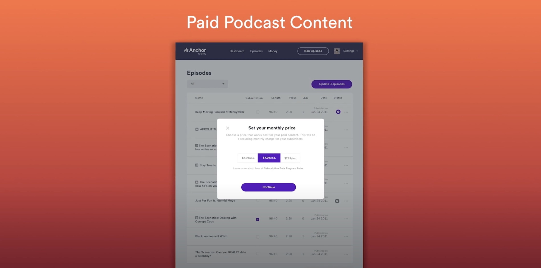 Spotify launches paid podcasts through new Anchor feature