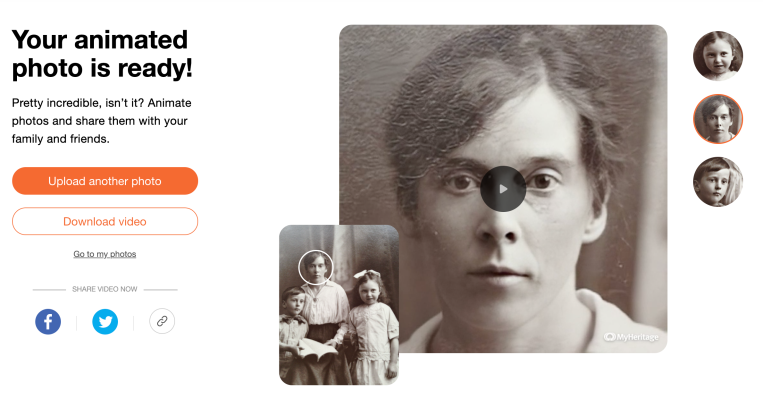 MyHeritage now lets you animate old family photos using deepfakery