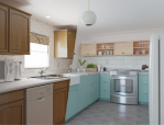outfit before and after kitchen renovation