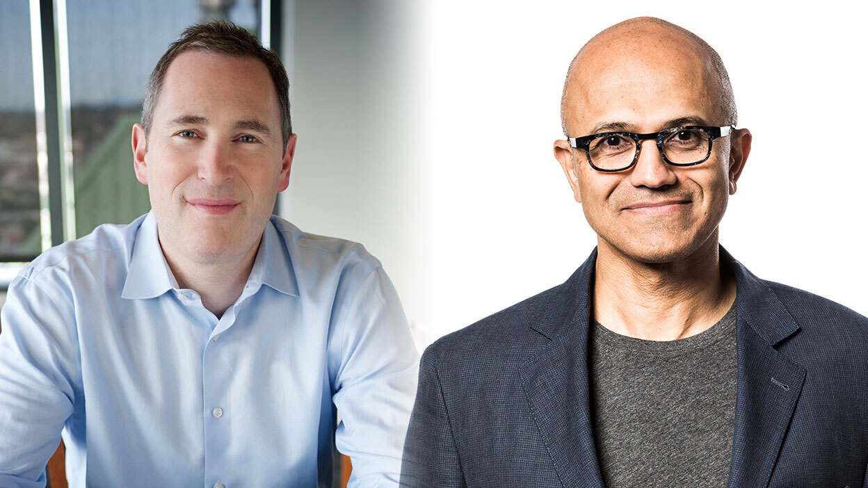 AWS CEO Andy Jassy and Microsoft CEO Satya Nadella