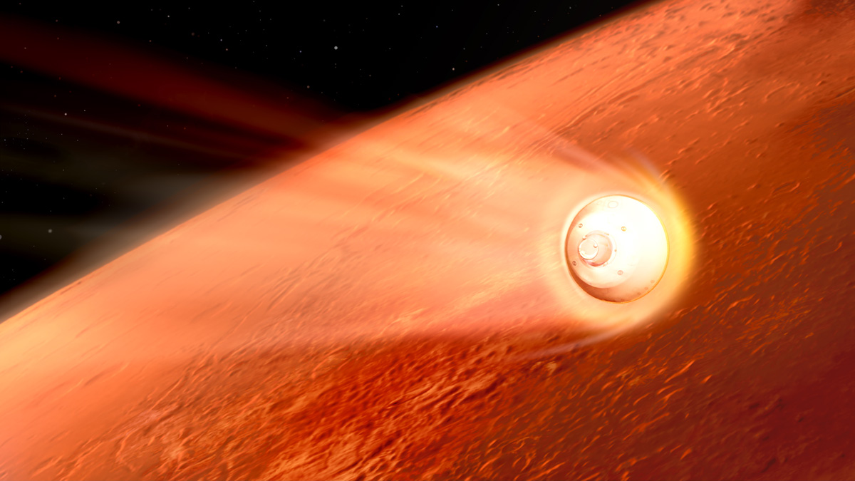 Illustration of the Perseverance landing capsule entering the Martian atmosphere like a meteor.