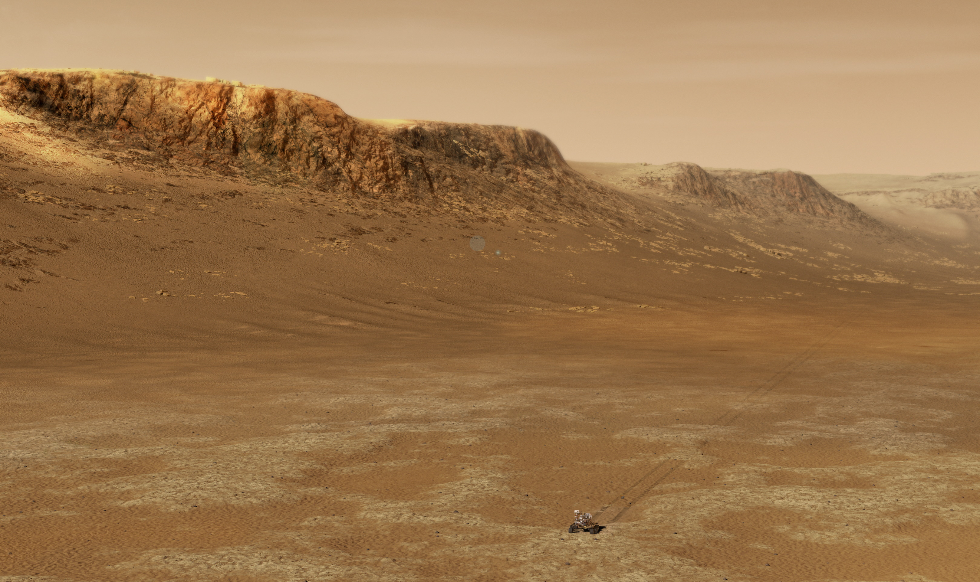Illustration of Perseverance very small against a Martian landscape.