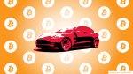 illustration of Tesla Model 3 with bitcoin logo background