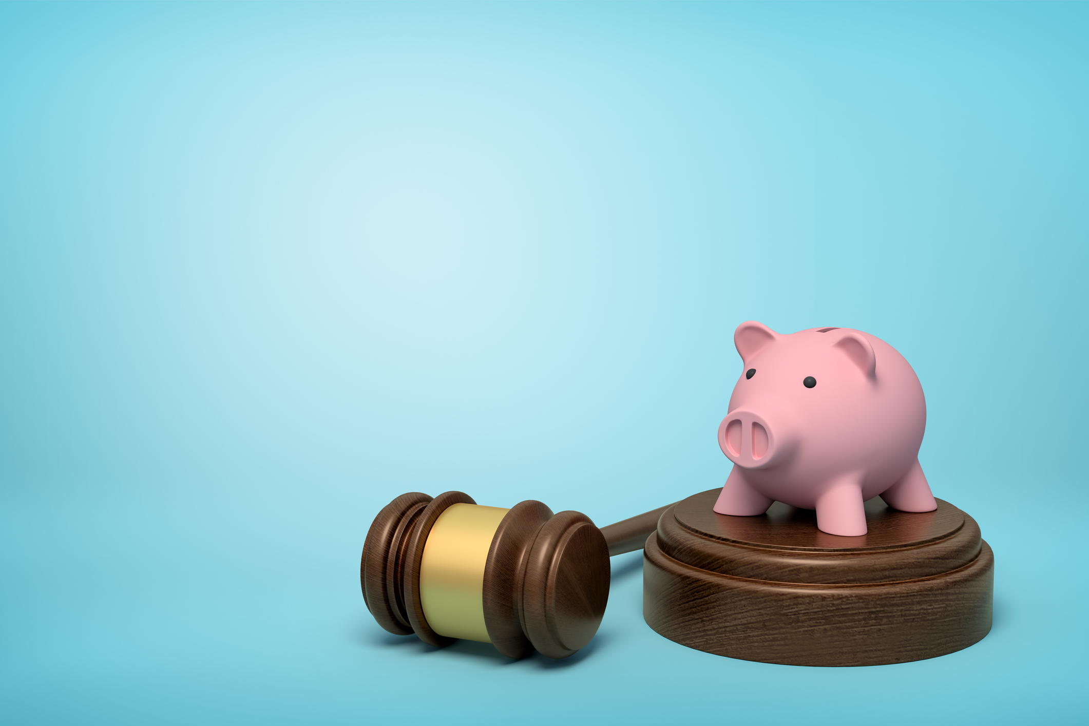3d rendering of pink piggy bank standing on sounding block with gavel lying beside on light-blue background with copy space. Money matters. Lawsuit for money. Auction bids.