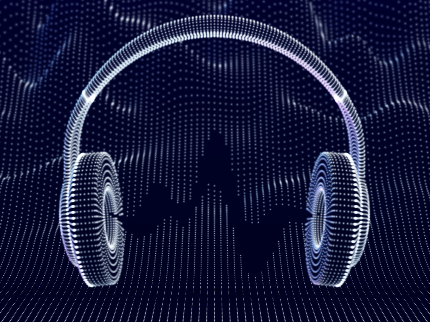 3D headphones with sound waves on a dark background.  The concept of listening to electronic music and digital audio.  Abstract Visualization of Digital Sound Waves and Modern Art.  Vector illustration.  (3D headphones with sound waves on a dark background. Concept
