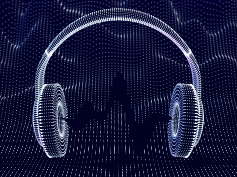 Headphone 3D dengan gelombang suara di latar belakang gelap. Konsep mendengarkan musik elektronik dan audio digital. Visualisasi abstrak gelombang suara digital dan seni modern. Ilustrasi vektor. (Headphone 3D dengan gelombang suara di latar belakang gelap. Konsep