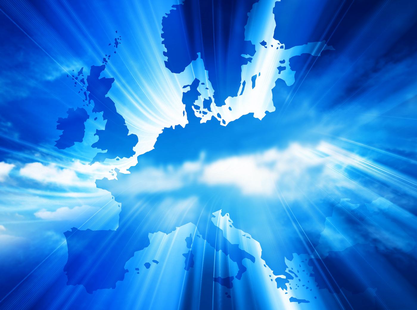 Map of Europe in blue with bright light through it