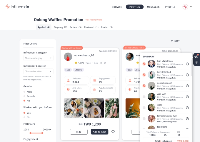 A screenshot of Influenxio's platform