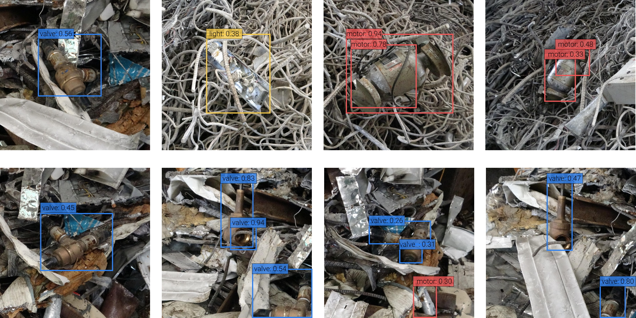 Image of scrap metal with AI-detected labels for various kinds of items overlaid.