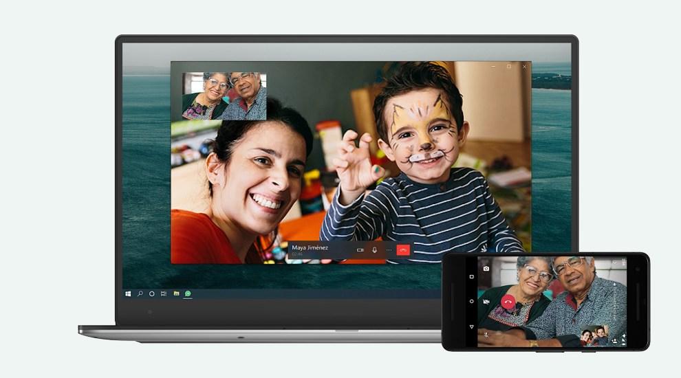 Ilustrasi panggilan video melalui WhatsApp Desktop