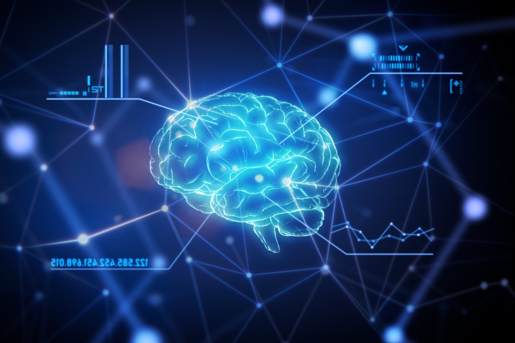 Close up brain with a futuristic graphical user interface in network connection space.