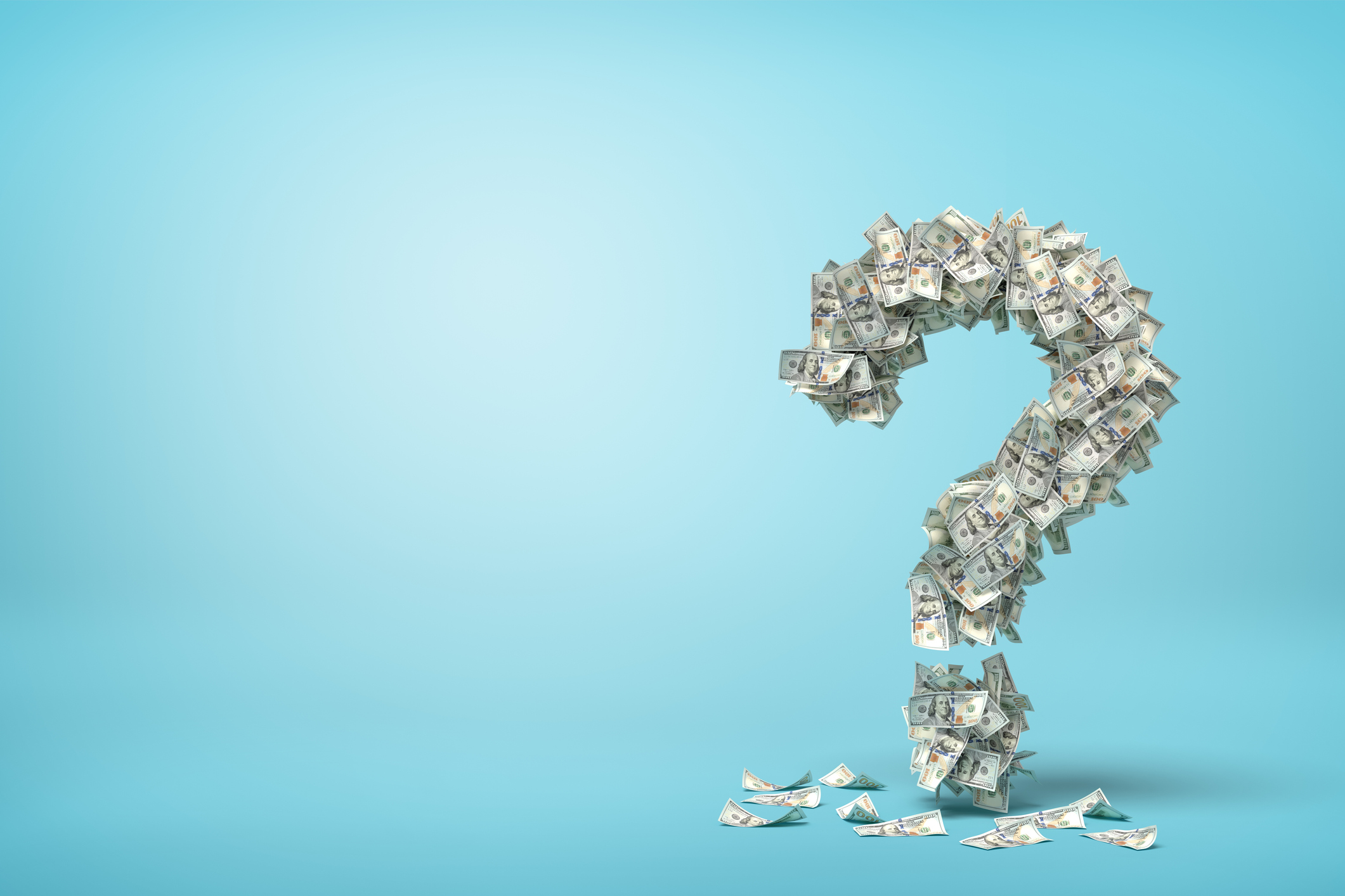 3d rendering of question mark made up of dollar banknotes on blue background. Banking and finance. Business success. Management and production.