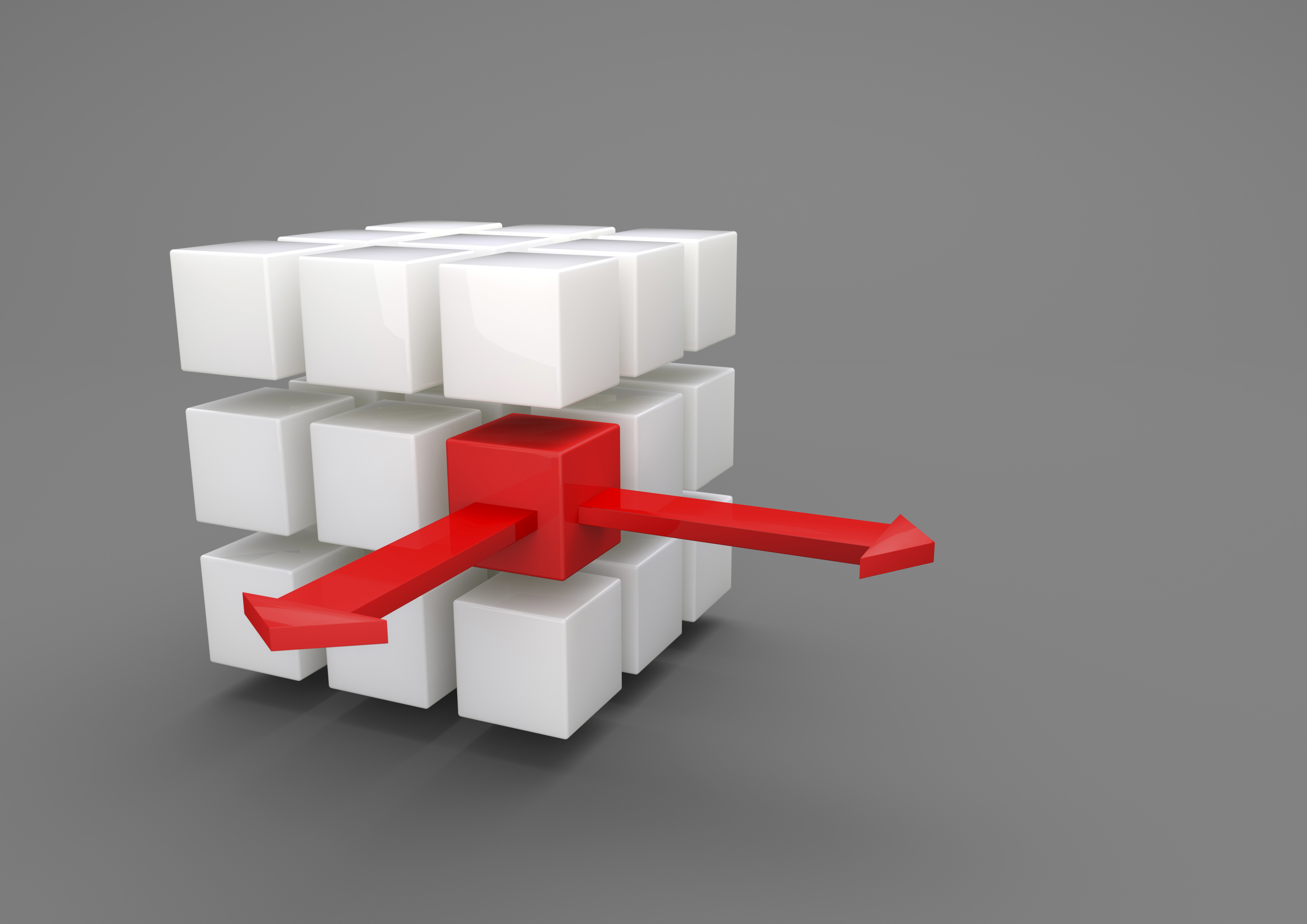 Image of a white cube with smaller red cubes being outsourced.